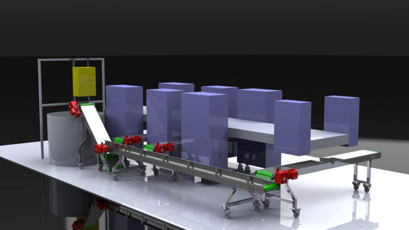 Convoyeur récupérateur de pâtes 3D